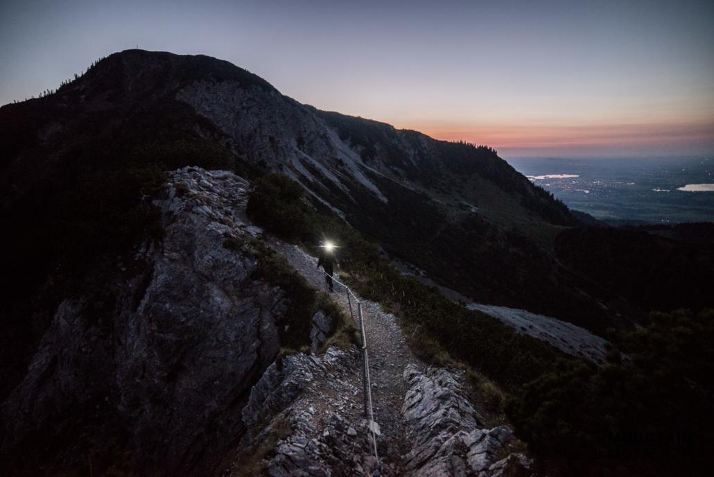 Steep hiking path at the ridge - crossing Heimgarten Herzogstand
