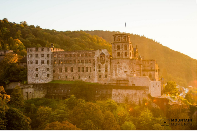 The Heidelberg Castle in the light of the sun at sunset